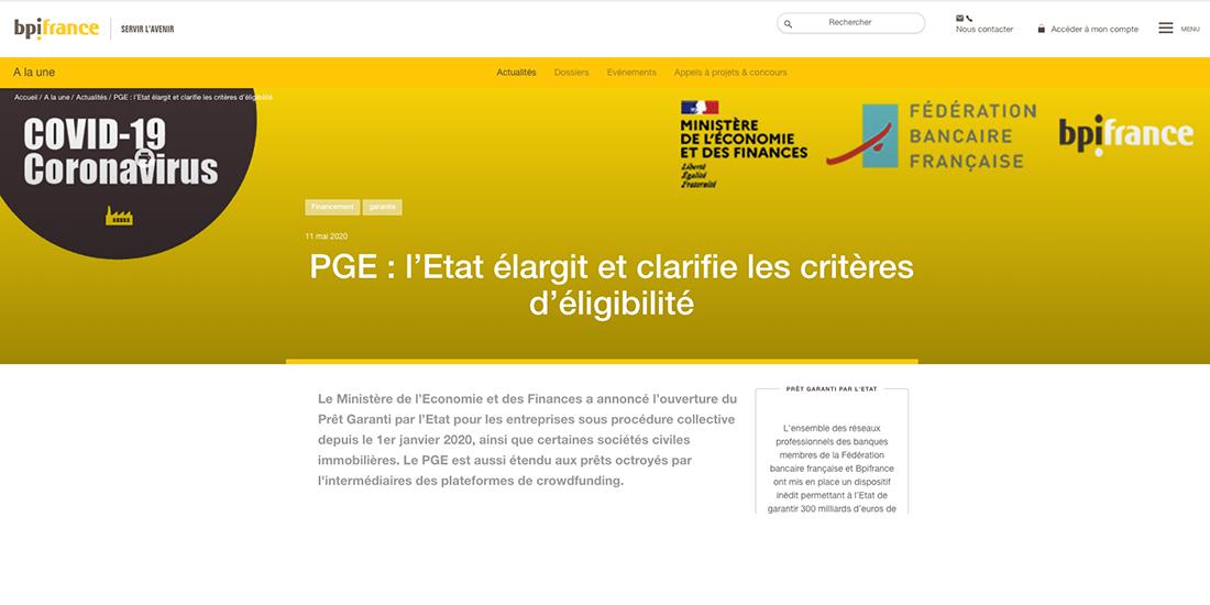 PGE : Pret Garanti par l'Etat
